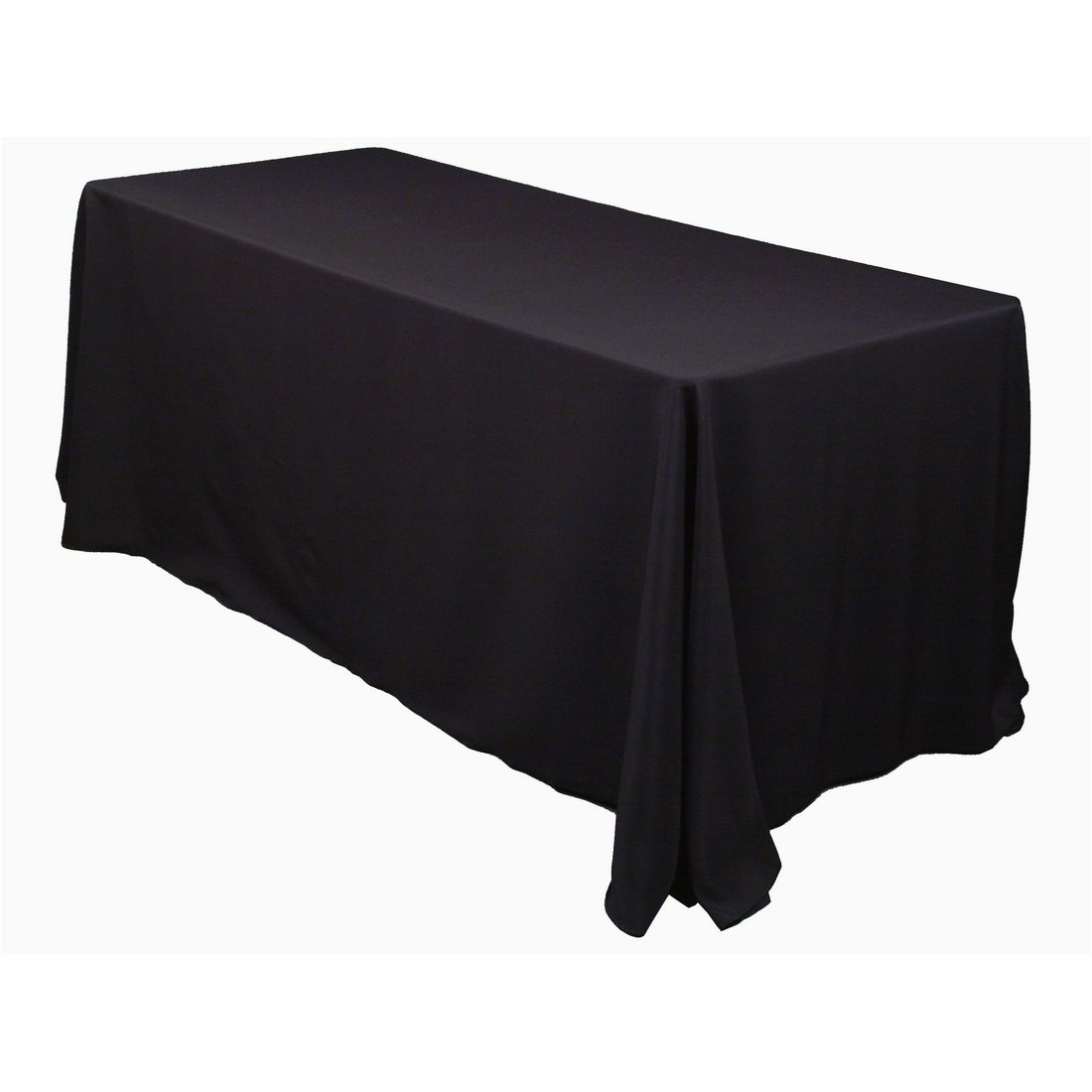 Linentablecloth 90 X 132-Inch Rectangular Polyester Tablecloth Black 1 2