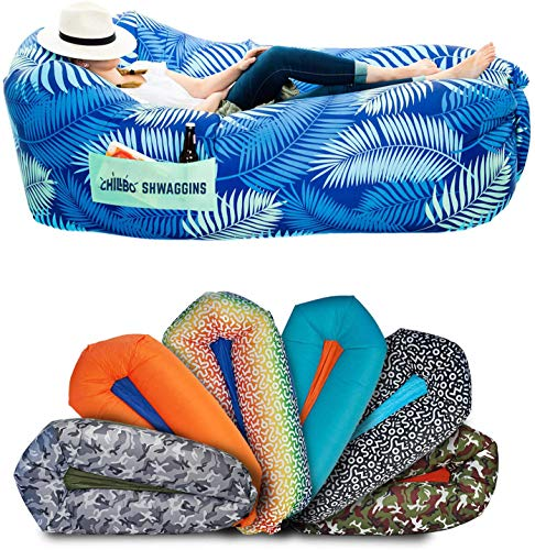 Chillbo Shwaggins Inflatable Couch - Cool Inflatable Chair. Upgrade Your Camping Accessories. Easy Setup is Perfect for Hiking Gear, Beach Chair and Music Festivals. (A Blue Leaf)