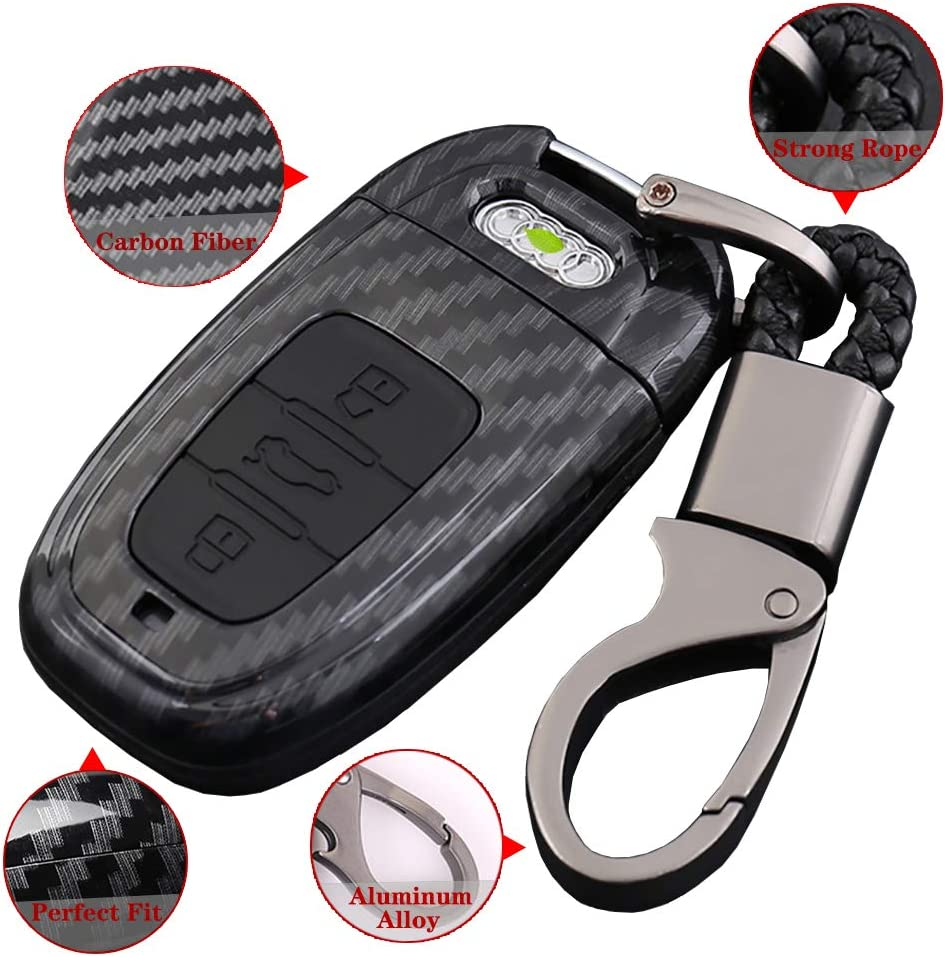 Car Key Case Fit for Audi A4L A6L Q5 A5 A7 A8 S5 S7 Key Fob Cover ABS Material Full Protection Key Shell for 3 Button Key Carbon Fiber Red