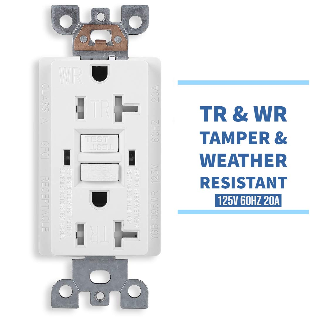 cUL Listed Tamper Resistant /& Weather Resistant 20-Amp//125-Volt White UL Listed Wall Plate and Screws Included 50 Pack GFCI Duplex Outlet Receptacle Self-Test Function with LED Indicator