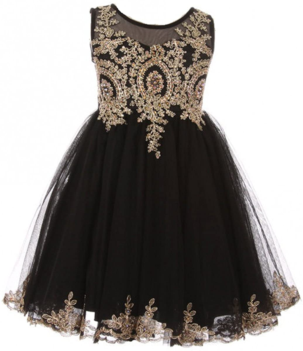 c5c5e5a115e Stunning Christmas Holiday Girls dress. Decorated with a golden pattern  that has a few gold rhinestones that match the golden pattern.