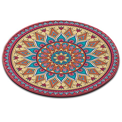 (LB Mandala Pattern Print Round Rug, Indian Zen Bright Colorful Geometric Medallion Pattern Decor Area Rug Mat Carpet for Living Room Study Bedroom, 4' Diameter)