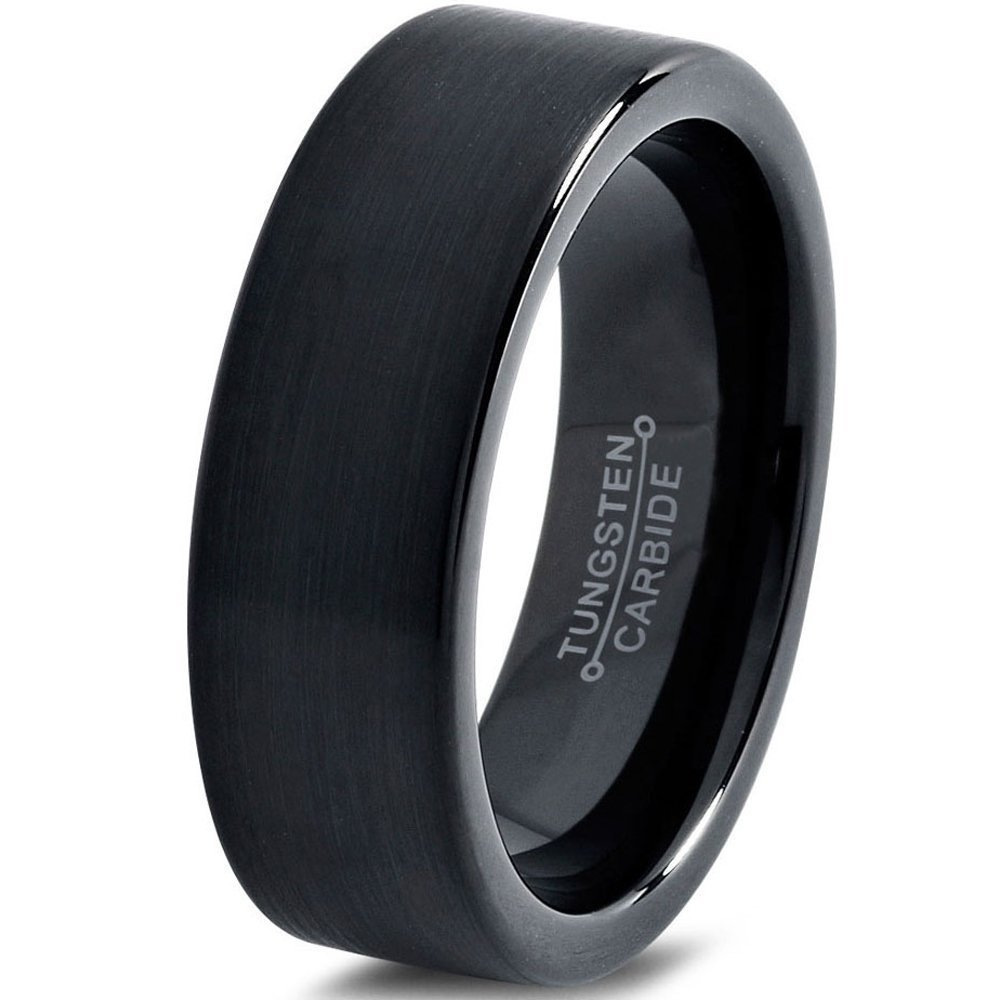 Tungsten Wedding Band Ring 7mm for Men Women Comfort Fit Black Pipe Cut Brushed FREE Custom Laser Engraving Lifetime Guarantee