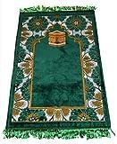 Prayer Rug Made in Turkey with Fine Soft Velvet Superior Quality Green