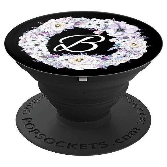 Amazoncom B Monogram Floral Wreath Watercolor Lilac Purple Initial