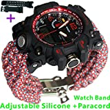 Red Adjustable Waterproof Resistant 7 Strand 550 Paracord Loop Strap Nylon Customization Bracelet Strap Band (Stainless Steel)