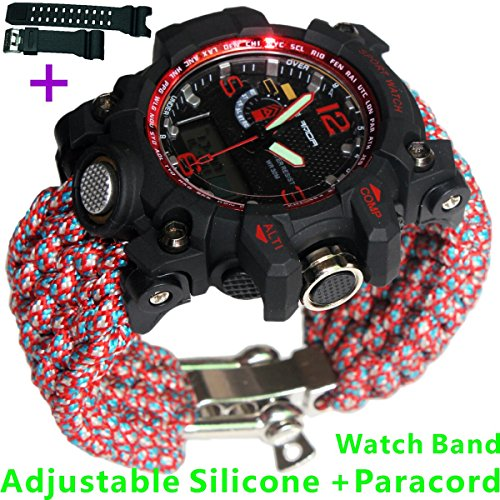 Red Adjustable Waterproof Resistant 7 Strand 550 Paracord Loop Strap Nylon Customization Bracelet Strap Band (Stainless Steel) by Generic