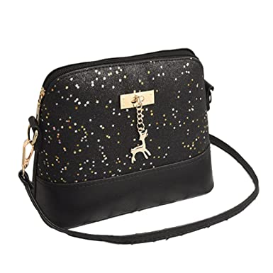 f0394a9236d00 Sequins Crossbody Bag Womens Glitter PU Leather Small Shoulder Bags with  Deer Fashion Messenger Bag (Black)  Amazon.co.uk  Clothing