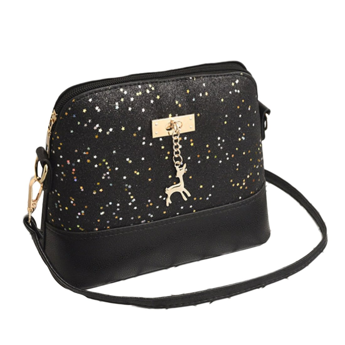 EROGE Women's Sequins Small Deer Shoulder Bags Leather Cross-body Bag Fashion Messenger Bag (Black)