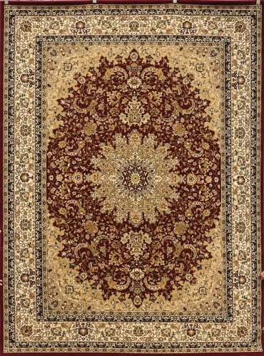 Burgundy Persian Rug (Dunes Burgundy Traditional Isfahan High Density 1 Inch Thick Wool 1.5 Million Point Persian Area Rugs 5'2 x 7'3)