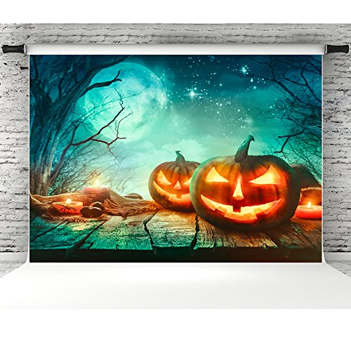 (7x5ft Halloween Wood Floor Photography Backdrop Props Vinyl Spooky Forest and Pumpkins Photographic Studio Photo Backgrounds)