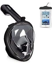 Emsmil Maschera da Snorkeling Panoramica Easybreath 180 gradi Panoramici Full Face Design di Respirazione Libera Maschere Subacquee Anti-Appannamento Anti Infiltrazioni Sacchetto Impermeabile per Telefono per Adulti e Bambini