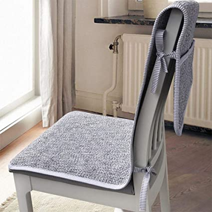 Cotton and Linen Table Chair Backrest Cushions One-Piece Cushion Fabric  Office Chair Cushion with Storage for Four Seasons 17.8 X 47.3inch