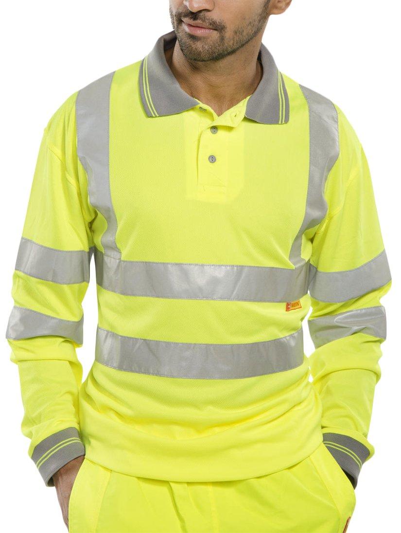 New Mens Hi Vis Grey Collared Long Sleeve Shirt (UK Large, Yellow)