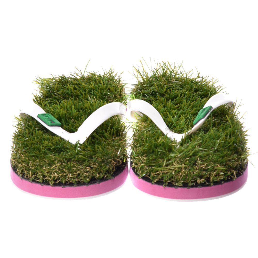7dfb51ca12f2 Kusa Womens Ladies Summer Funky Festival Grass Flip Flops - Green Grass and  White Pink Green Kusa-M UK6-UK8  Amazon.co.uk  Shoes   Bags