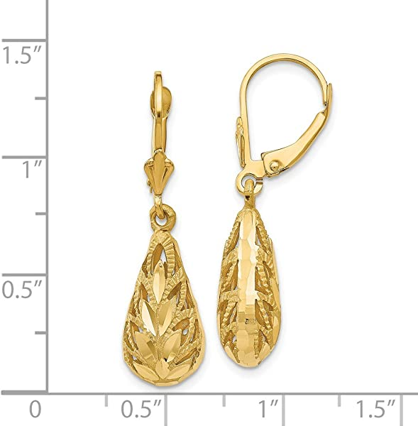 30ca1d96e 14k Yellow Gold Drop Dangle Chandelier Leverback Earrings Lever Back Fine  Jewelry Gifts For Women For. Back. Double-tap to zoom