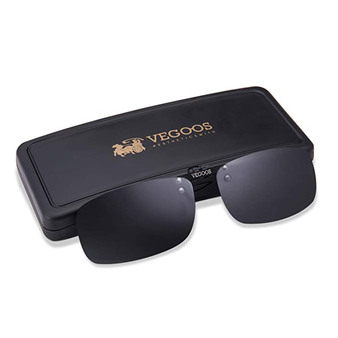 09ad7241ad3 VEGOOS Polarized Clip on Sunglasses for Men Women Flip up Sunglasses Over  Prescription Glasses with Case