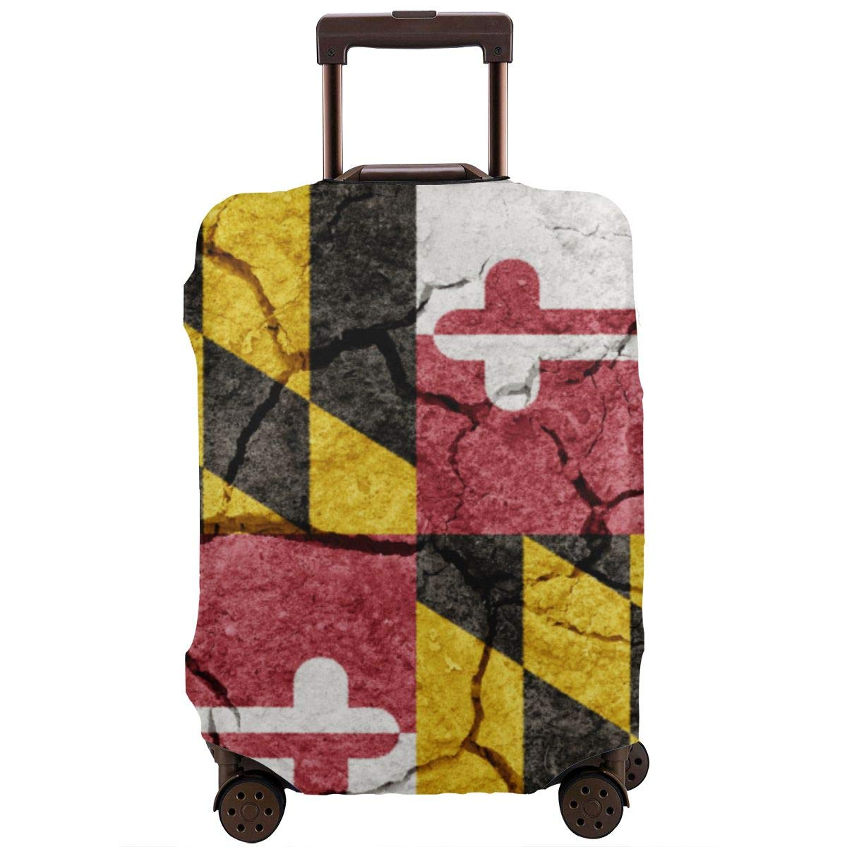 Flag of the State of Maryland on Dry Earth Ground Texture Background XL Travel Luggage Cover Suitcase Protector Fits for 18-32 Inch Luggage