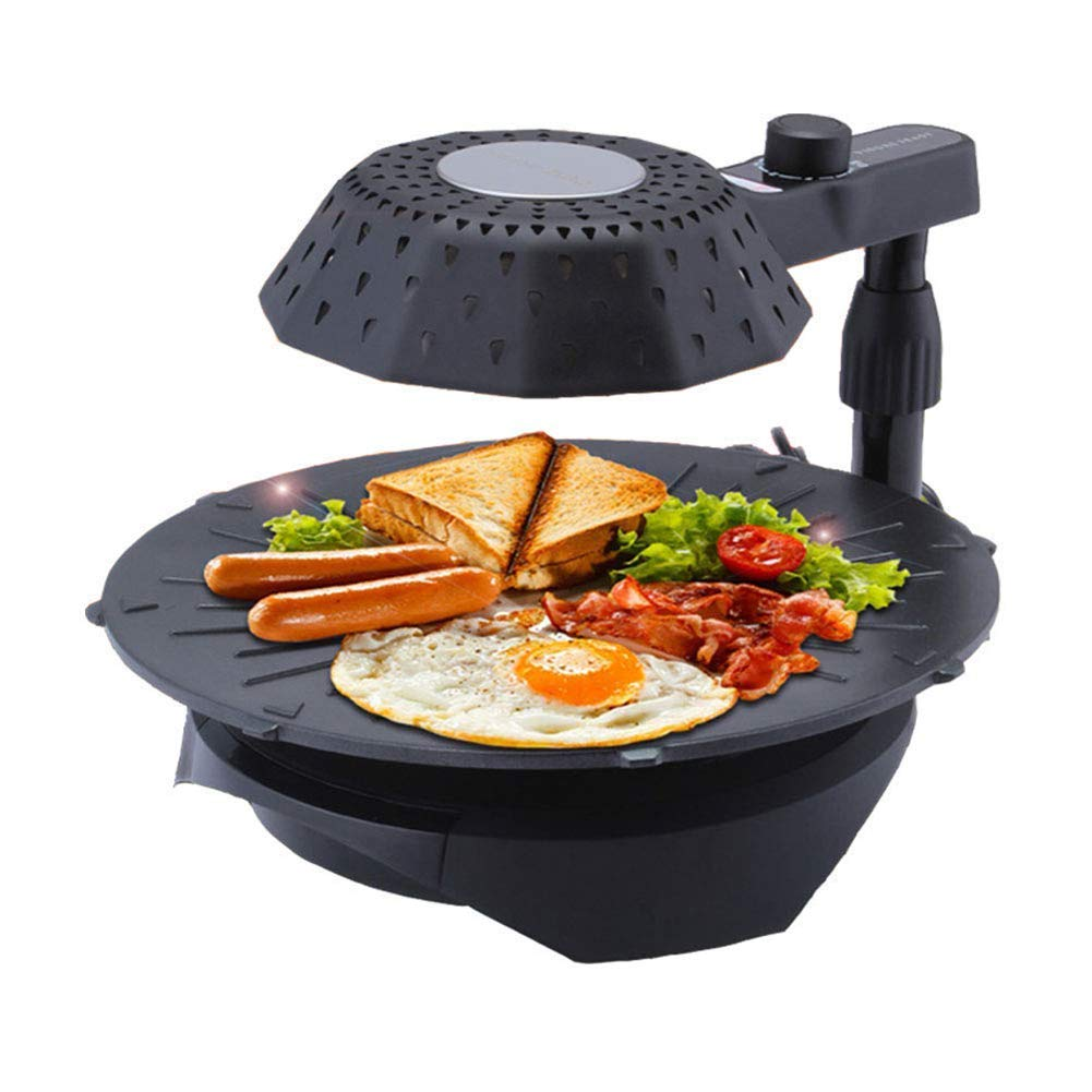 L&QQ Portable 3D Electric Smokeless Infrared BBQ Grill,Non-Stick Pan 45° Rotation Barbeque Oven