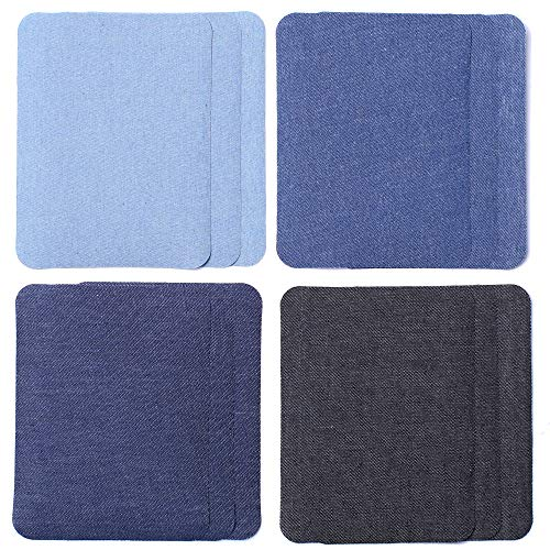 SHELCUP 12PCS Four Color Iron on Patches for Clothing Repair , Denim Patches for Jeans Kit,Iron for Inside/Outside Jeans & Clothing Repair-Square