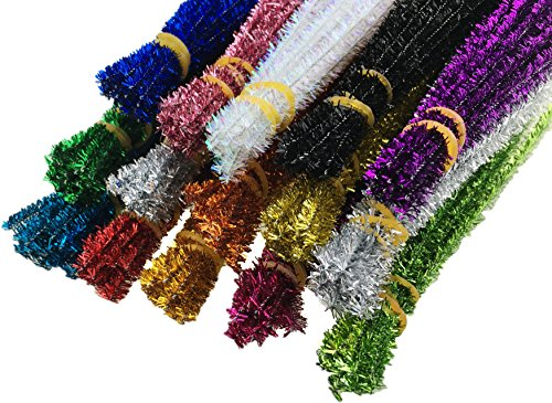 (HoneyToys 300pcs 15 Colors Glitter Creative Pipe Cleaners Chenille Stem 12 Inches x 6 mm,Pipe Cleaners for Arts and Crafts (15colors, 12inches))