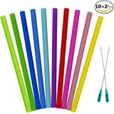 JUSLIN 10Pcs Reusable Silicone Straight Drinking Straws with 2 Cleaning Brushes, Assorted Color