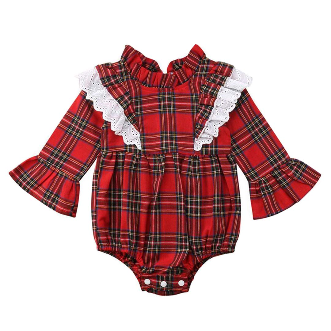 HUHUXXYY Infant Baby Girls Long Sleeve Red Plaid Ruffled Collar Rompers Jumpsuits