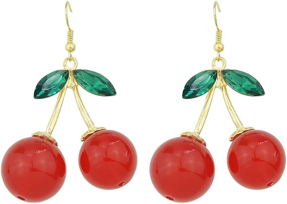 Feelontop® Moda Mujer Pendientes de gota de imitación de piedras preciosas de color rojo cereza Cristal verde Charm con bolsa de joyería