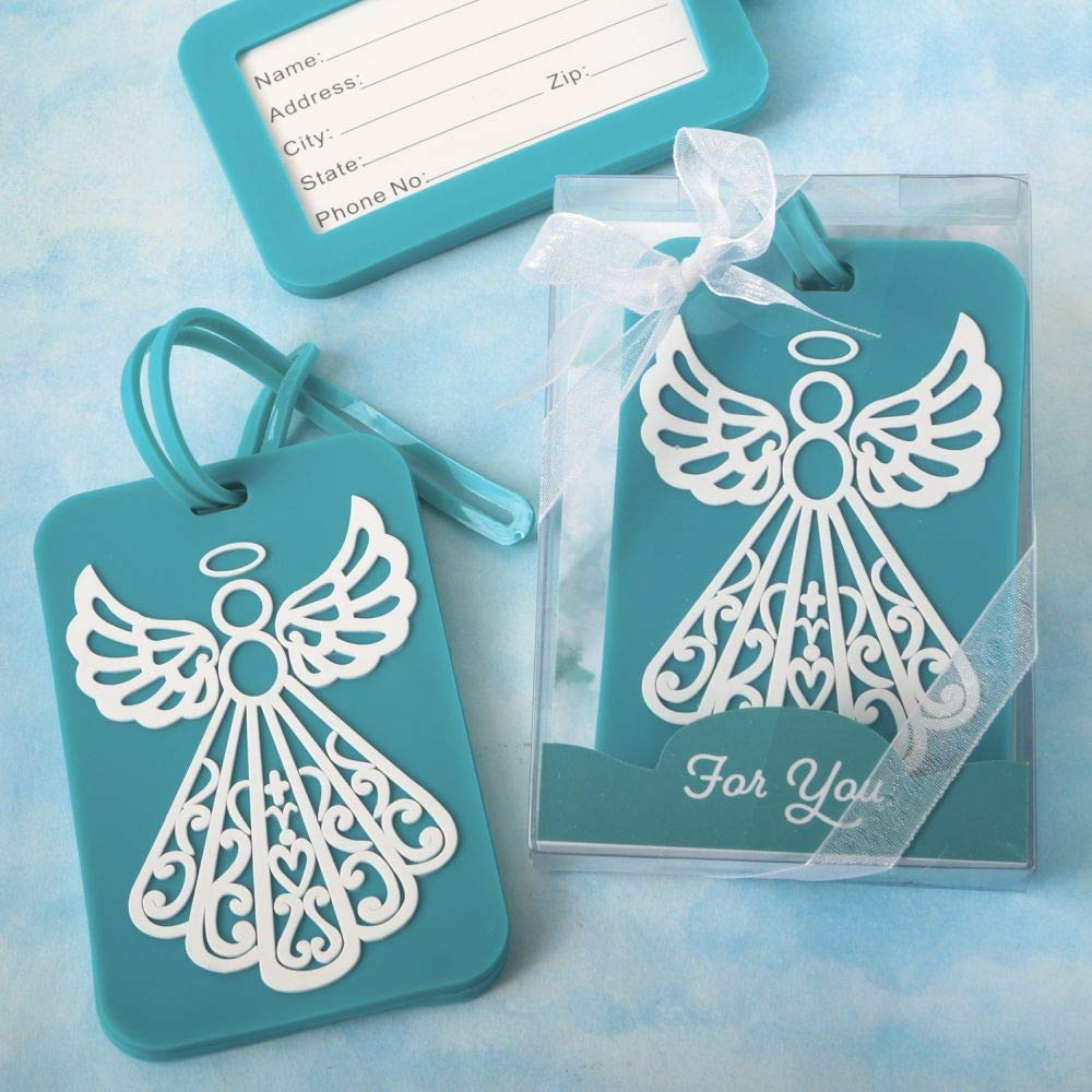 84 Fashioncraft Rubberized Turquoise Angel Design Luggage Tag Baby Shower Christening Baptism Religious Party Souvenir Favors