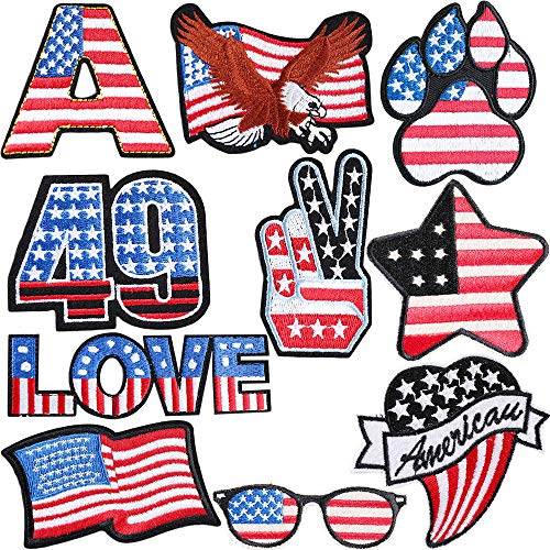 USA Star Embroidered Patches for Kids Mix Iron on Patches Assorted DIY Applique Heat Transfer Stickers Decorative Number Letter Flag Love Eagle Sew on Patches for Jackets, Backpacks, Jeans, Clothes ()