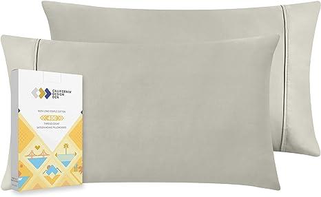 Cotton Pillow Cases Light Grey PREMIUM QUALITY 400 Tc Set Of 2 Pillowcase