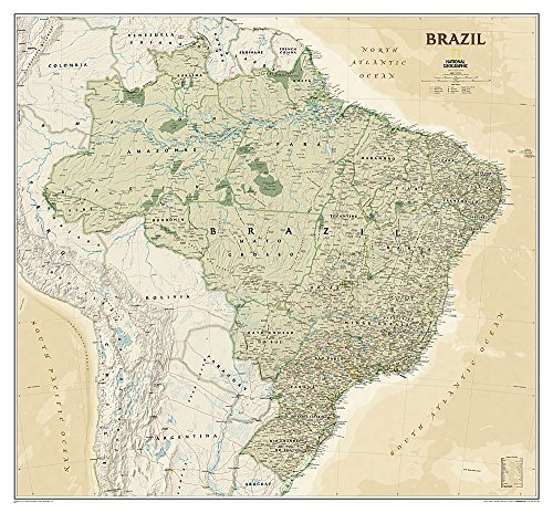 National Geographic: Brazil Executive Wall Map - Laminated (41 x 38 inches) (National Geographic...