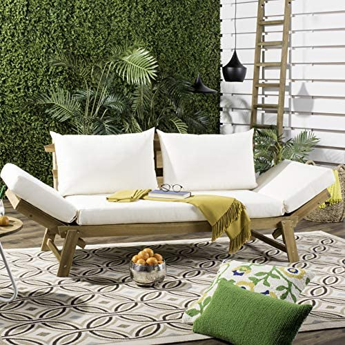 Safavieh PAT6745B Outdoor Collection Tandra Teak Modern Contemporary Daybed Day Bed