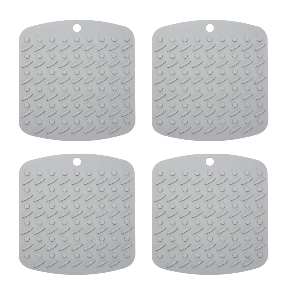 Premium Silicone Pot Holder Silicone Trivets for Hot Dishes, Spoon Rest Garlic Peeler Non Slip, Heat Resistant Hot Pads Potholders and Oven Mitts. Multipurpose Kitchen Tool 4 Pack Grey, 7x7""