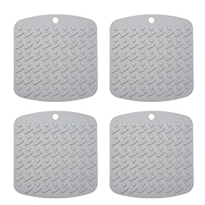 """Premium Silicone Pot Holder Silicone Trivets for Hot Dishes, Spoon Rest Garlic Peeler Non Slip, Heat Resistant Hot Pads Potholders and Oven Mitts. Multipurpose Kitchen Tool 4 Pack Grey, 7x7"""""""