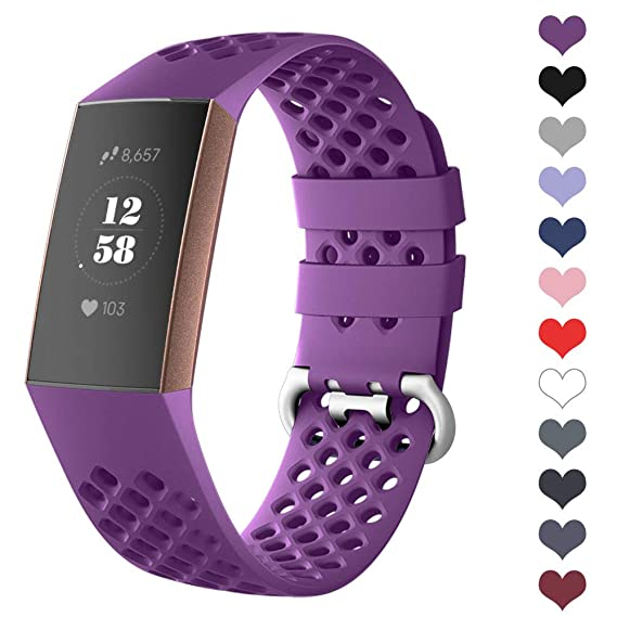 DEKER Sport Bands Compatible for Fitbit Charge 3 Bands Charge 3 SE Fitness  Tracker Women Men, Breathable Holes Silicone Smart Watch Strap Small Large