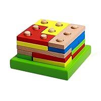 rolimate bambino di legno Forma e colore di riconoscimento colorati geometrica Consiglio Stack & Ordina puzzle giocattolo