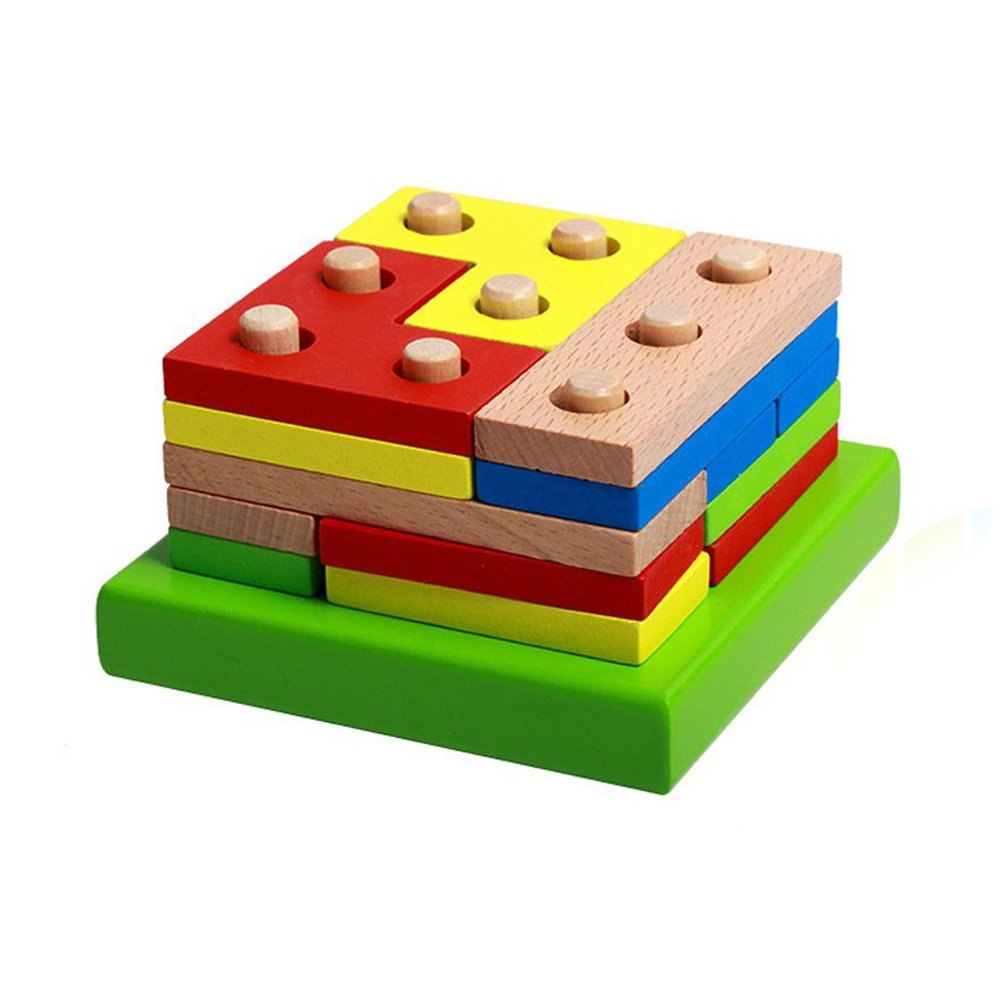 Wooden Educational Preschool Shape Early Developmental Geometric Board Block Stack Sort Chunky Puzzle Toys, Birthday Gift Toy for age 3 4 5 Years Old and Up Kid Children Baby Toddler Boy Girl