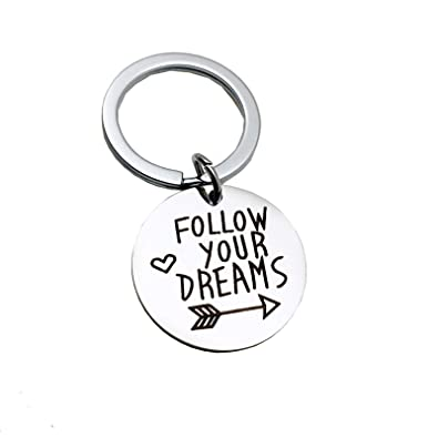 DOLOVE Llaveros para Bautizo Redondo Follow Your Dreams ...