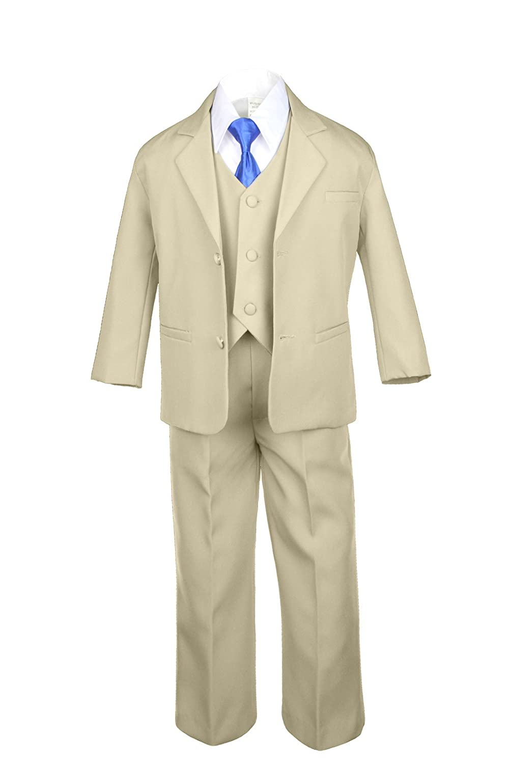6pc Boy Khaki Vest Set Formal Tuxedo Suits with Satin Royal Blue Necktie Baby to Teen