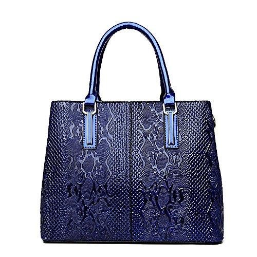 JVPS 79-B mochila para mujer negro cuero de la PU moda piel de serpiente 3way bolso de mano bolso impermeable bolso de hombro Azul Marino