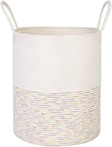 "ANTJUMPER Extra Large Cotton Rope Laundry Basket Woven Storage Basket with Handles for Towels Blankets Pillows Baby Toys Storage- Decorative Nursery Storage Basket - Colored Stitches 19.7""x15.8"""