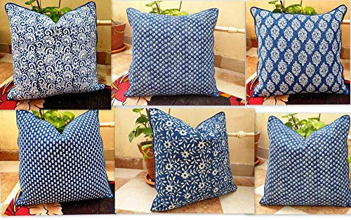 (Handicraftofpinkcity 10 Piece Lot indigo blue color pillow case lots piping cushion cover home decor throw hand block)