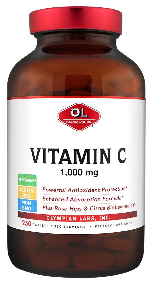 Olympian Lab Vitamin C-1000 with Rose Hips, 250 Tablets