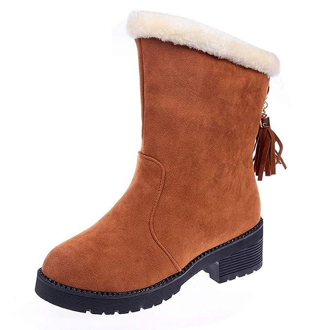 Botas de Nieve para Mujer de Felpa, Calzado sin Cordones para Mujer Botas