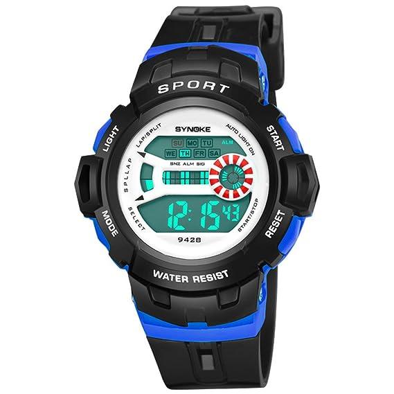 Cronómetro cronógrafo,Reloj deportivo Relojes digitales Despertador Timing Luminoso Multifunción Jalea reloj de Estudiantes masculinos y femeninos-F: ...