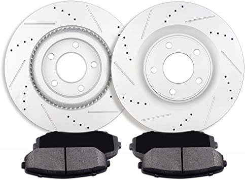 Front+Rear Rotors Ceramic Pads For 2007 2008 2009 2010 2011 2012 2013 Ford Edge