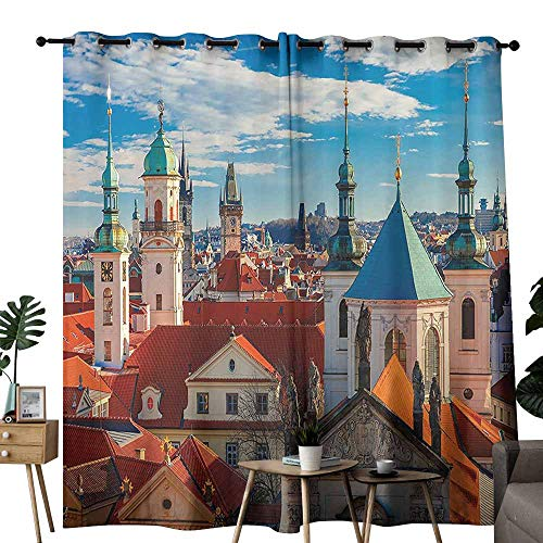 Hobnail Bell - Marilec Decor Curtains Wanderlust Decor Collection Domes of Churches Bell Tower of The Old Town Hall Powder Tower Czech Republic Photography Print Orange Blue Noise Reducing Curtain W72 xL45