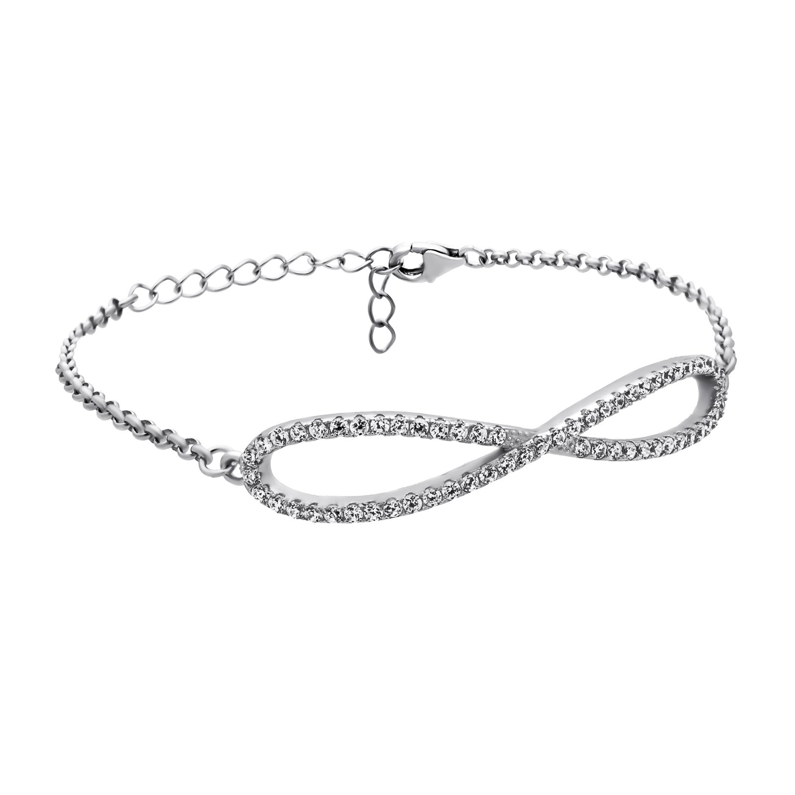 925 Sterling Silver Infinity Bracelet Double Infinity CZ Crystal Simple Minimalist Jewelry bridesmaid Gifts,Large Infinity Charm Bracelet,3.5 gram,Lobster Clasp,Gift For Her