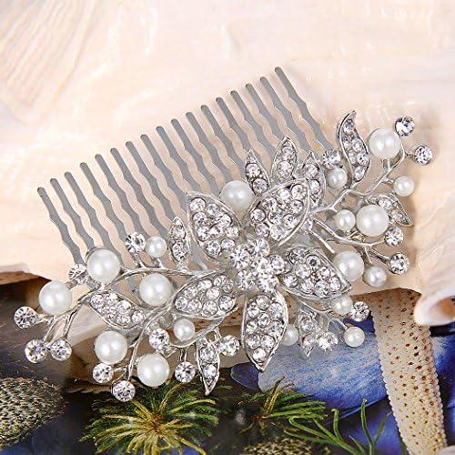 argentato con motivo floreale ideale per matrimoni con finte perle color avorio e cristalli Ever Faith/® Pettine da capelli